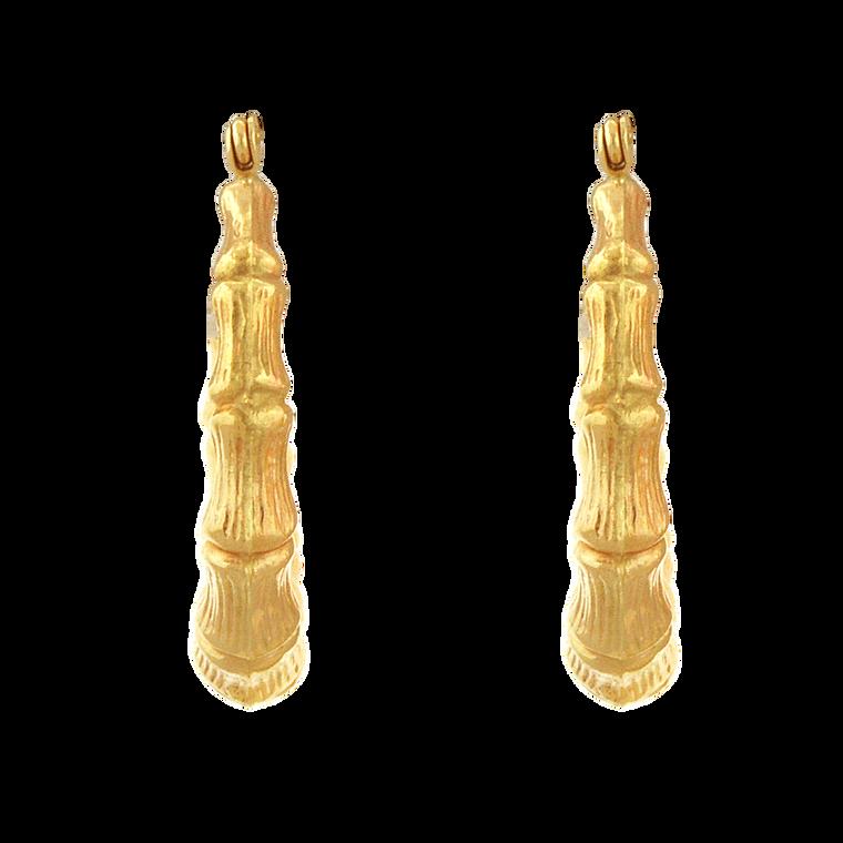 14K Yellow Gold Bamboo Hoop Earrings 40002859 | Shin Brothers*