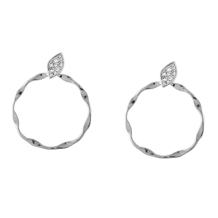 14K White Gold Diamond Leaf / Hanging Circle Earrings 41002458 | Shin Brothers*