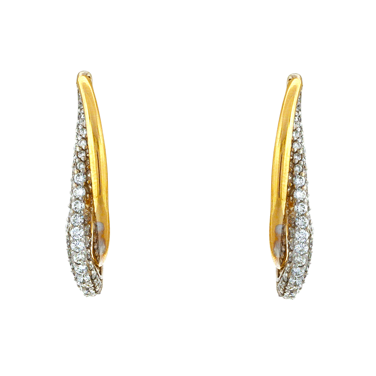 14K Two Tone Gold Diamond Hoop Earrings 41002459   Shin Brothers*