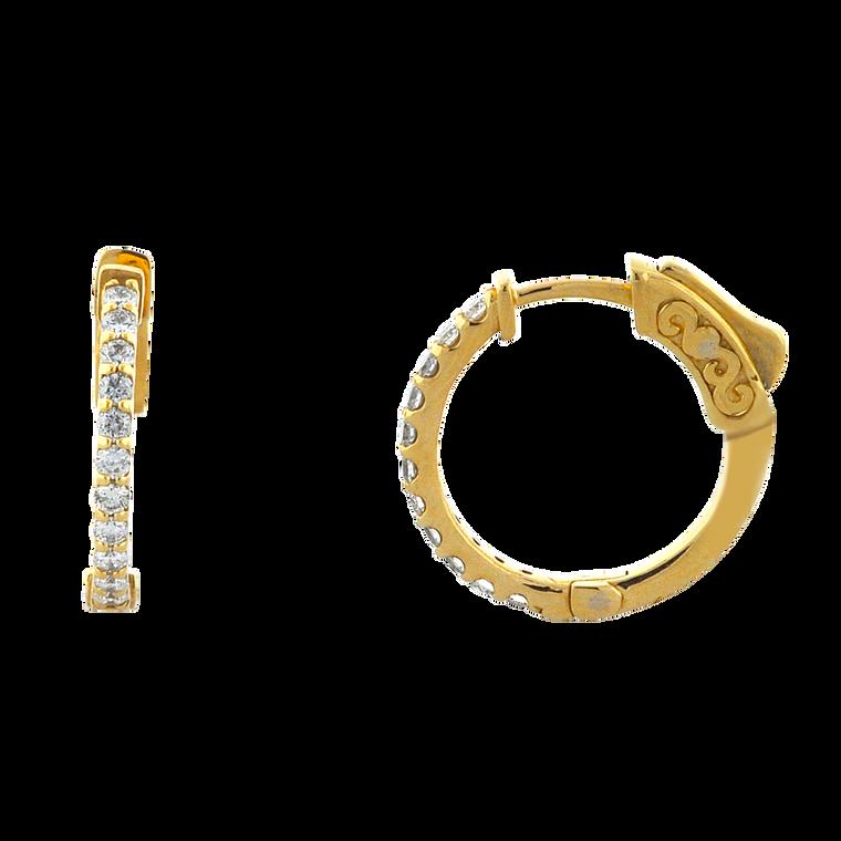 14K Yellow Gold Diamond Huggie Earrings 41002460 | Shin Brothers*