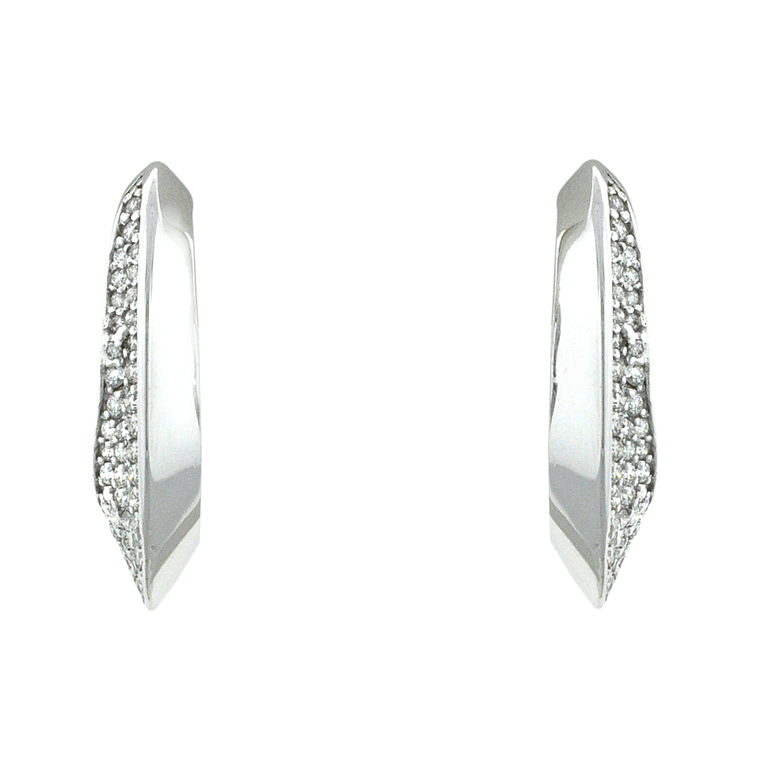 14K White Gold Diamond Oval Hoop Earrings 41002462 | Shin Brothers*