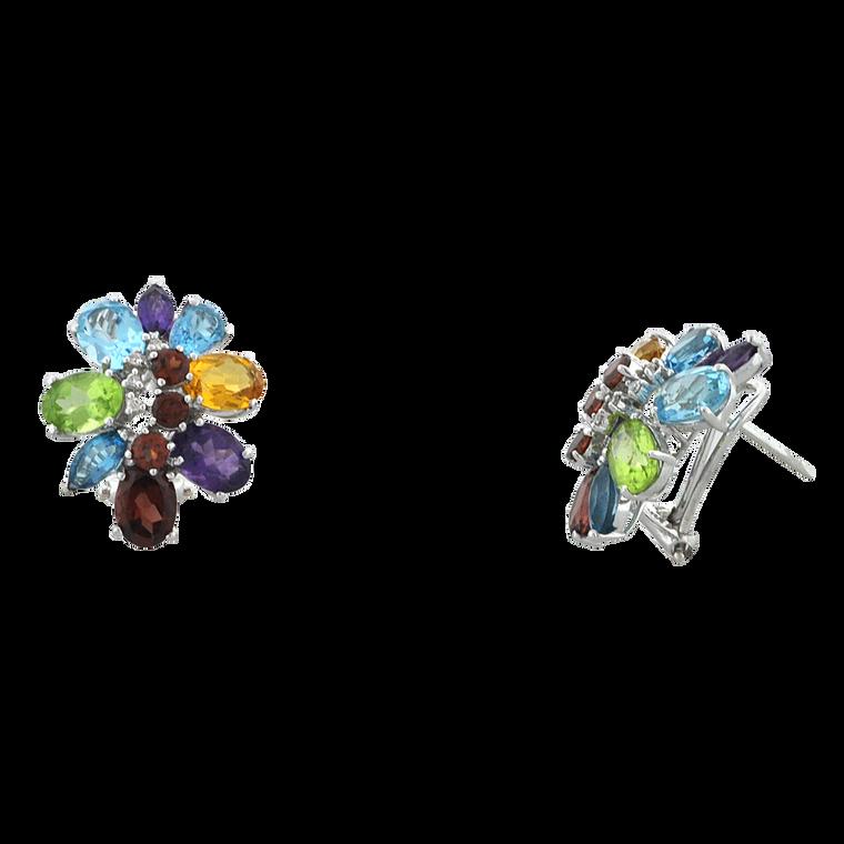 14K White Gold Multicolor Stone Flower Stud Earrings 42003184 | Shin Brothers*