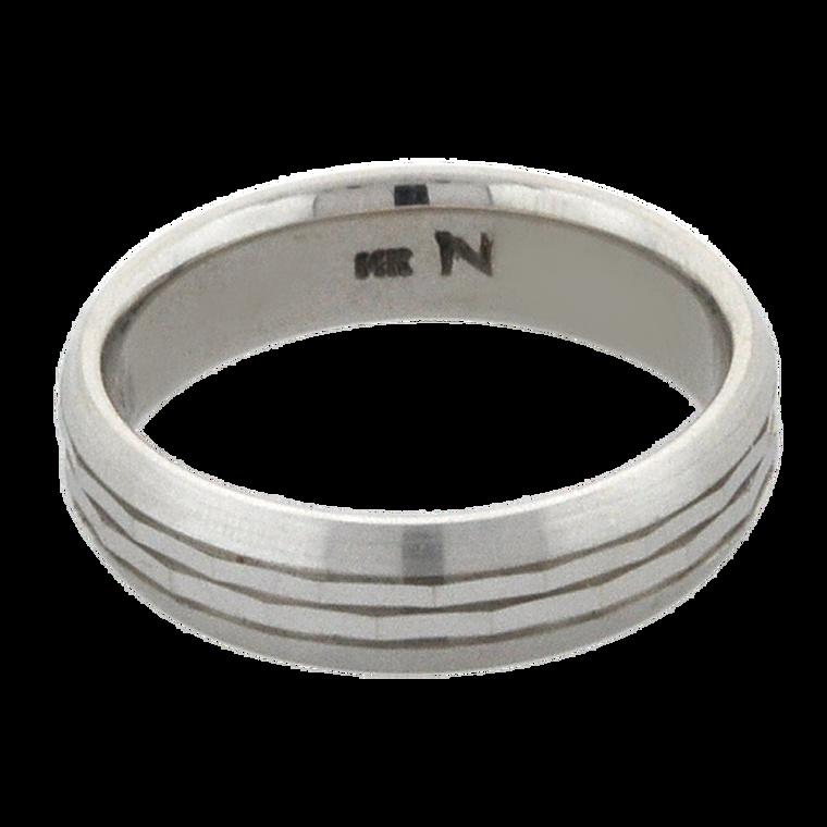 14K White Gold Stripe Cut Band 10000656 | Shin Brothers*