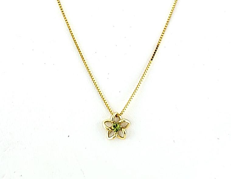 "14K Yellow Gold 16"" Peridot Flower Necklace 32000626   Shin Brothers*"