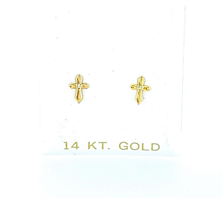 14K Yellow Gold Mini Cross Stud Earrings 40002881 | Shin Brothers*