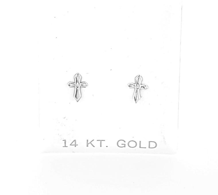 14K White Gold Mini Cross Stud Earrings 40002882   Shin Brothers*