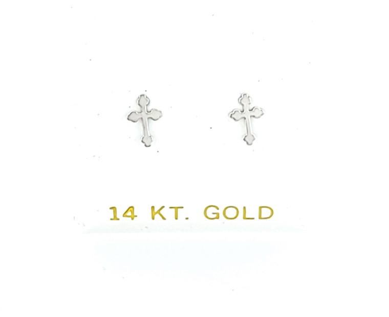 14K White Gold Mini Cross Stud Earrings 40002880   Shin Brothers*