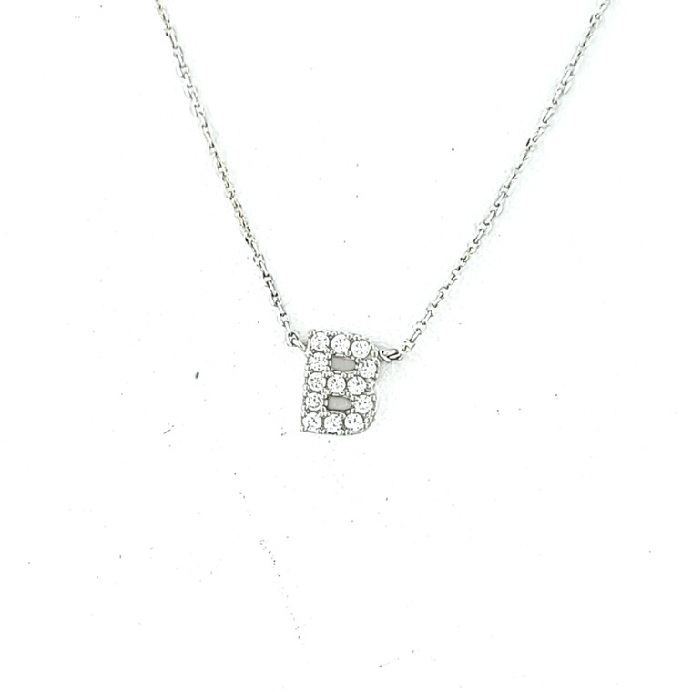 """14K White Gold CZ """"B"""" Initial Necklace 32000614 