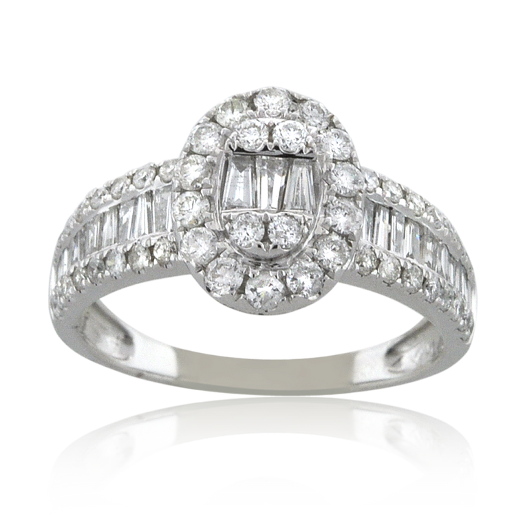 14K White Gold Baguette/Round Cut Diamond Oval Engagement Ring 11006527 | Shin Brothers*