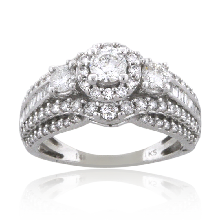 14K White Gold 1 1/2 ctw Three Stone Diamond Engagement Ring with Accents 11006528 | Shin Brothers*