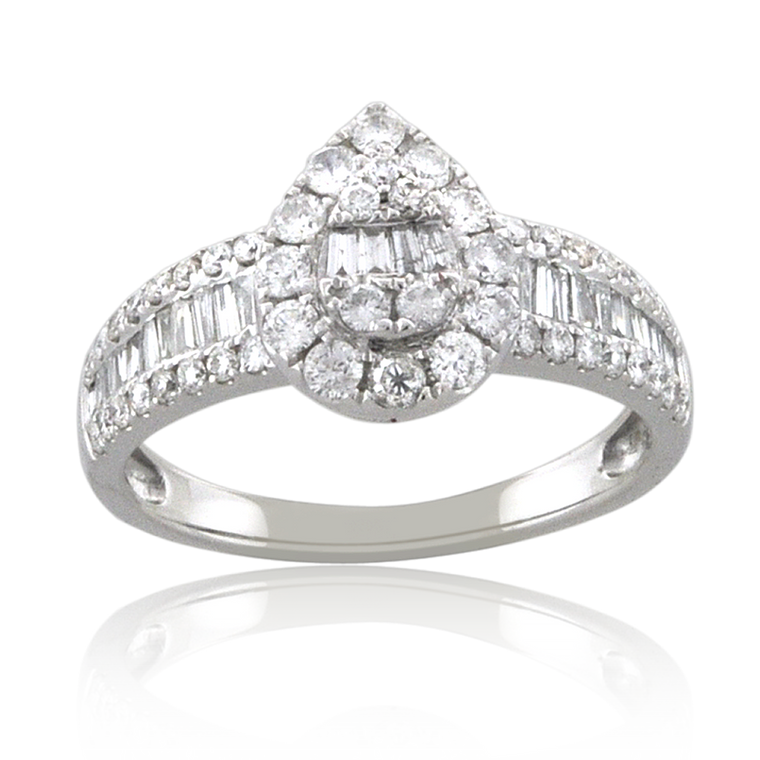 14K White Gold 1 ctw Baguette/Round Cut Diamond Pear Engagement Ring with Accents 11006529 | Shin Brothers*