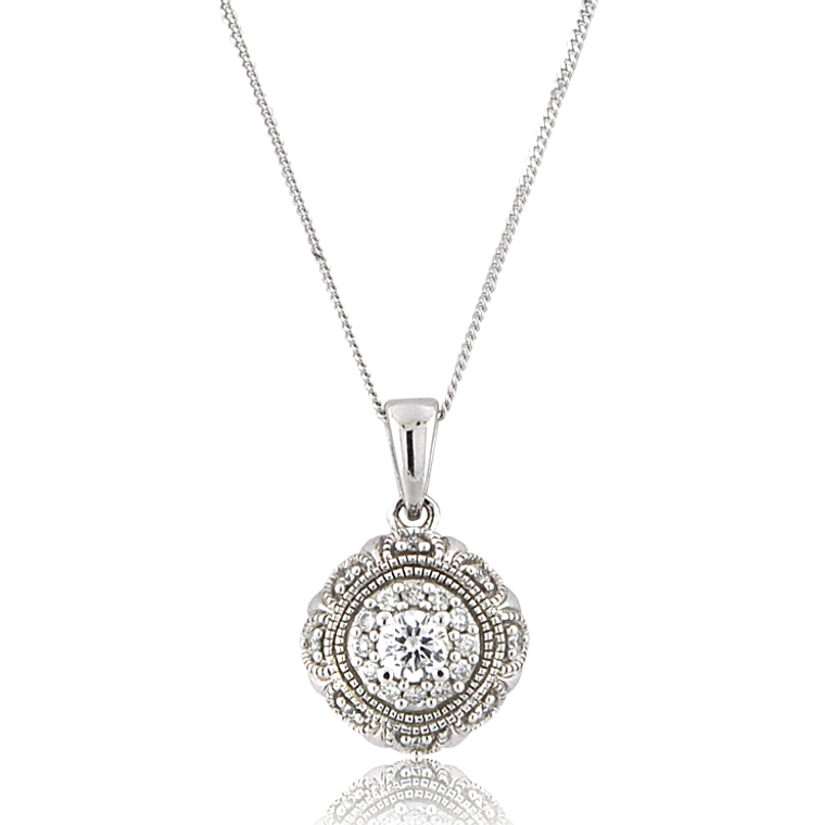 10K White Gold 1/4 ctw Diamond Necklace 39110013 | Shin Brothers*