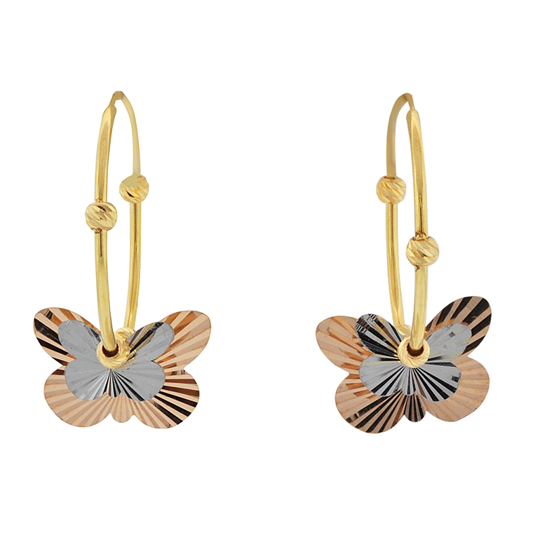 14K Tricolor Gold Butterfly Hoop Earrings 40002820   Shin Brothers*