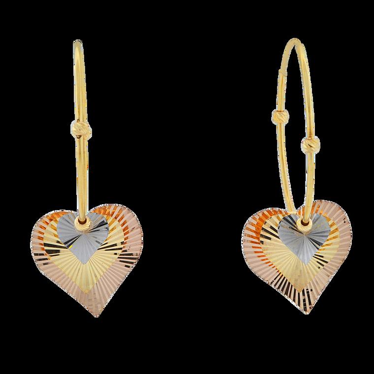 14K Tricolor Gold Heart Hoop Earrings 40002821 | Shin Brothers*