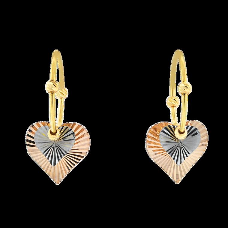 14K Tricolor Gold Heart Hoop Earrings 40002822   Shin Brothers*
