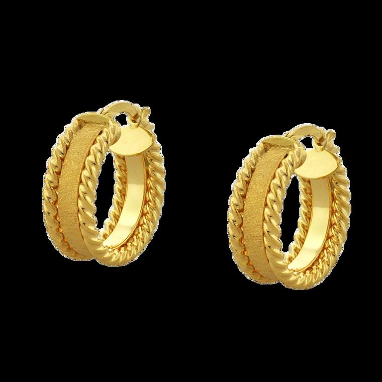 14K Yellow Gold Mini Twisted Rope Hoop Earrings 40002823   Shin Brothers*
