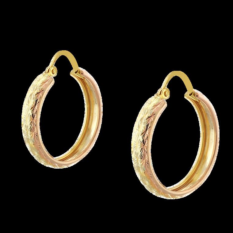 14K Tricolor Gold Diamond Cut Hoop Earrings 40002826 | Shin Brothers*