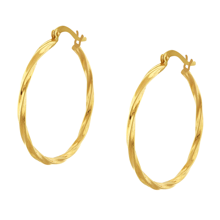 14K Yellow Gold Twisted Hoop Earrings 40002827 | Shin Brothers*