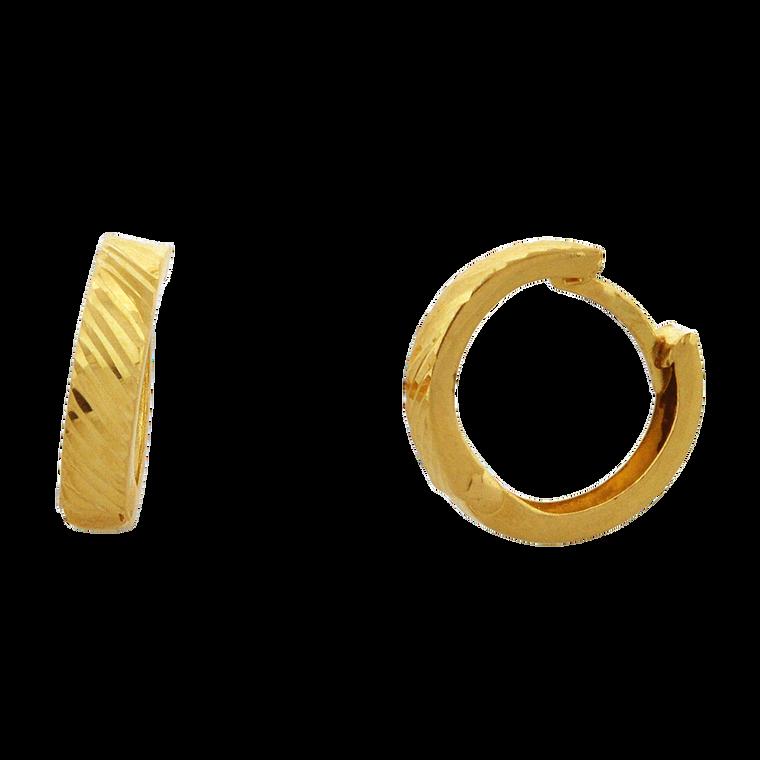 14K Yellow Gold Textured Huggie Earrings 40002828 | Shin Brothers*