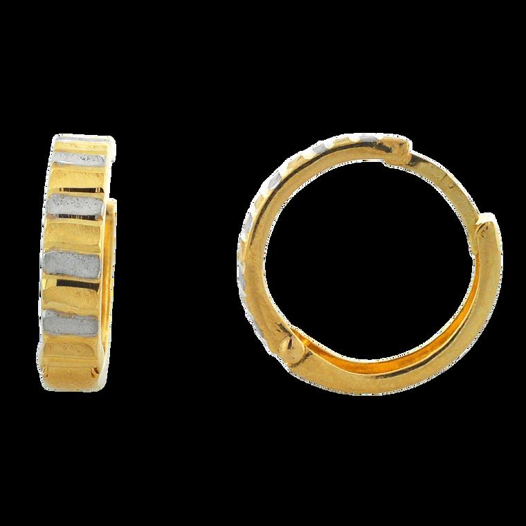 14K Two Tone Gold Striped Huggie Earrings 40002829   Shin Brothers*