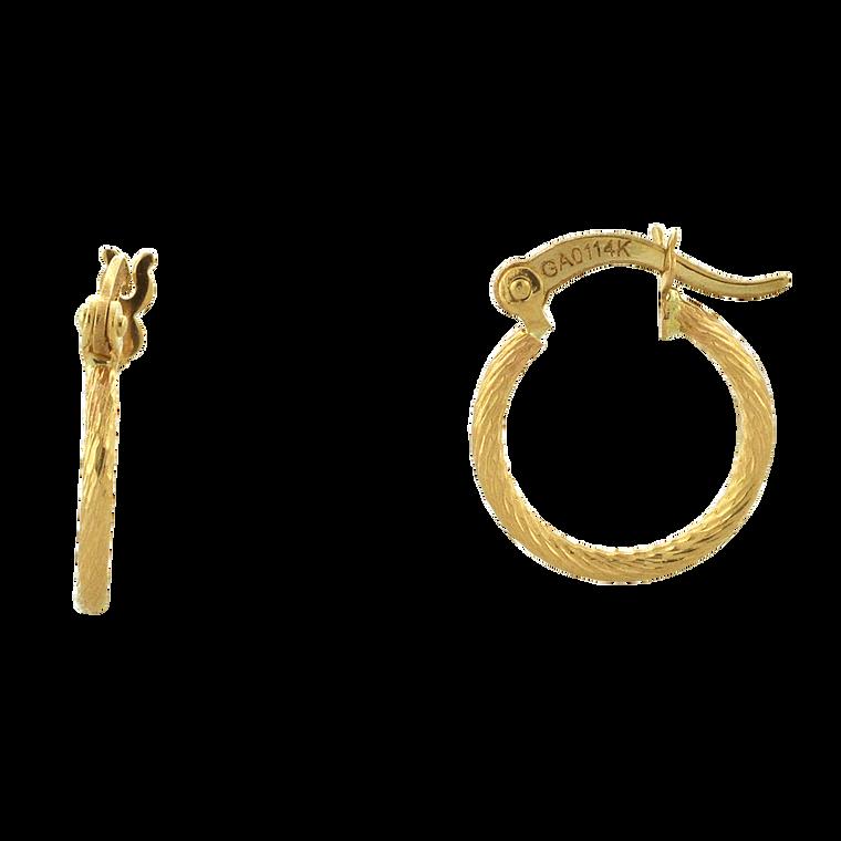14K Yellow Gold Mini Hoop Twist Earrings 40002830 | Shin Brothers*