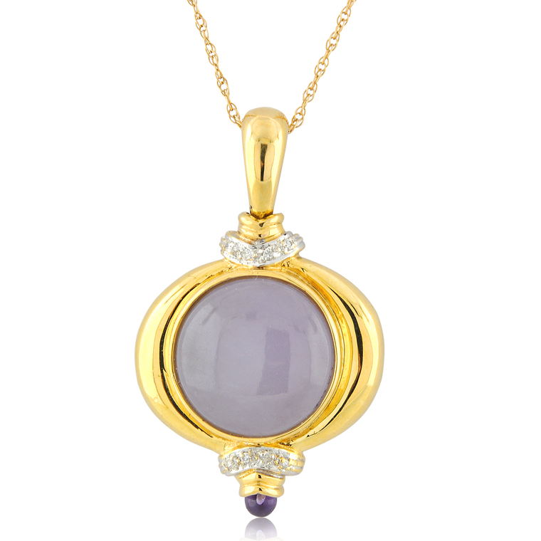 14K Yellow Gold Fancy Lavender Jade Pendant with Diamonds 52001967   Shin Brothers*