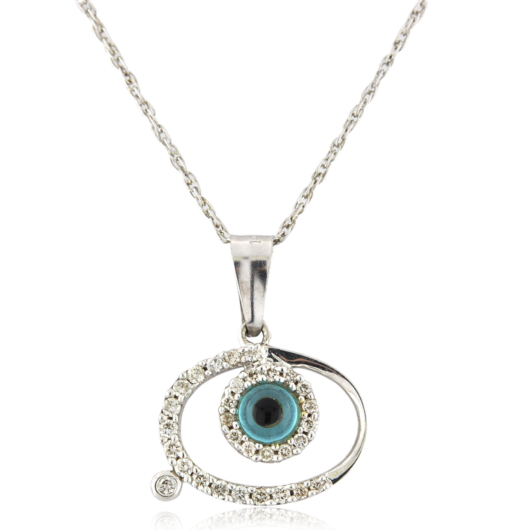 14K White Gold Diamond Evil Eye Charm 52001869   Shin Brothers*