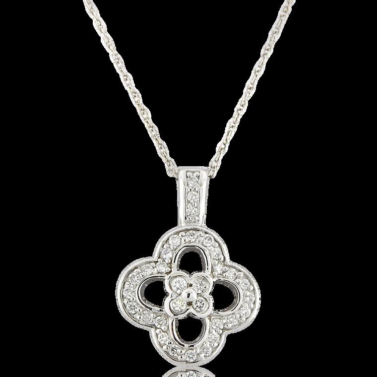 14K White Gold Diamond Four Leaf Clover Pendant 50003499 | Shin Brothers*