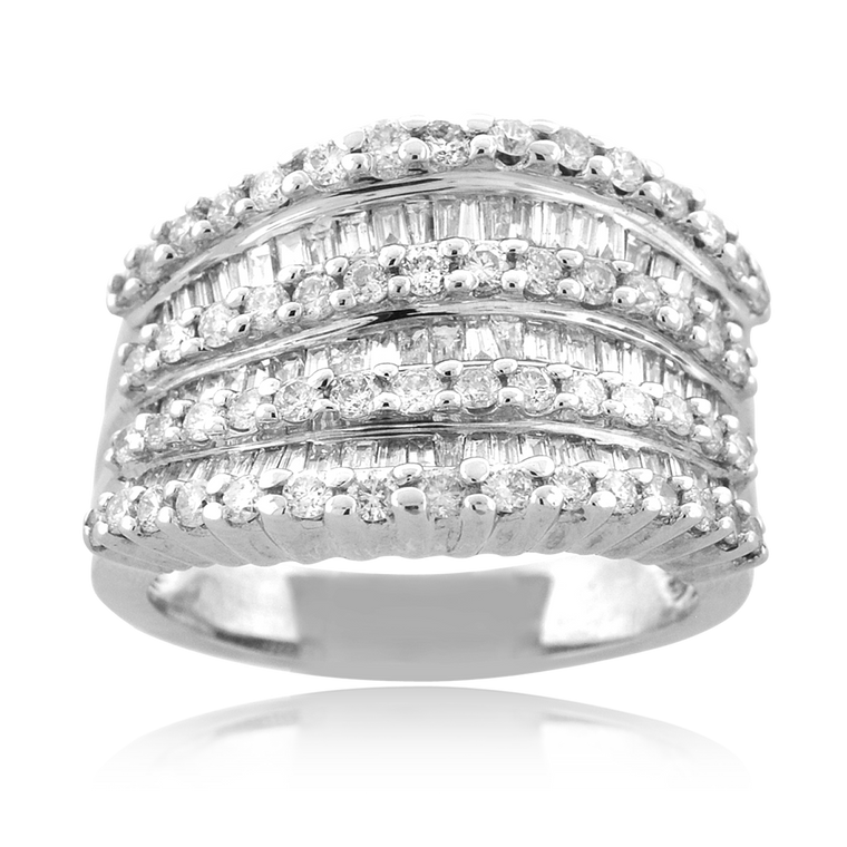 14K White Gold Round/Baguette Diamond Rows Band 11006555   Shin Brothers*