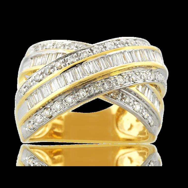 18K Yellow Gold Round/Baguette Diamond Crisscross Ring 11006557 | Shin Brothers*