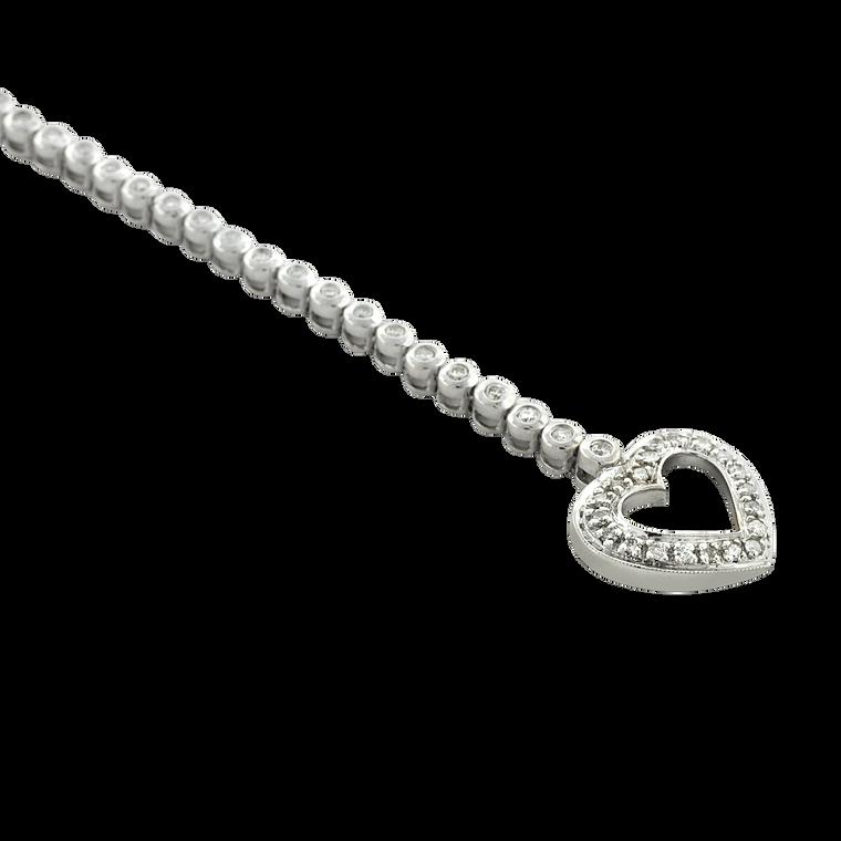 14K White Gold 1.00 ctw Diamond Heart Clasp Bracelet 21000815 | Shin Brothers*