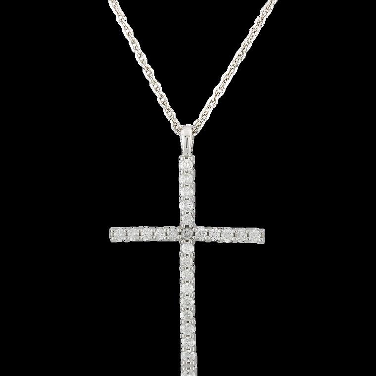14K White Gold 1/3 ctw Diamond Cross Pendant 51002040 | Shin Brothers*