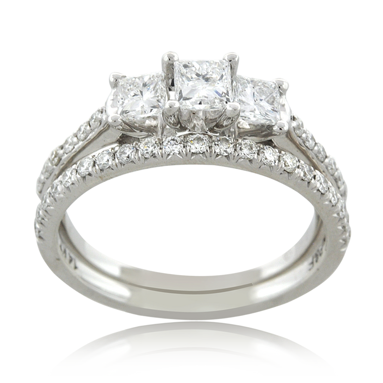 14K White Gold Three Stone Diamond Bridal Ring Set 11006554 | Shin Brothers*