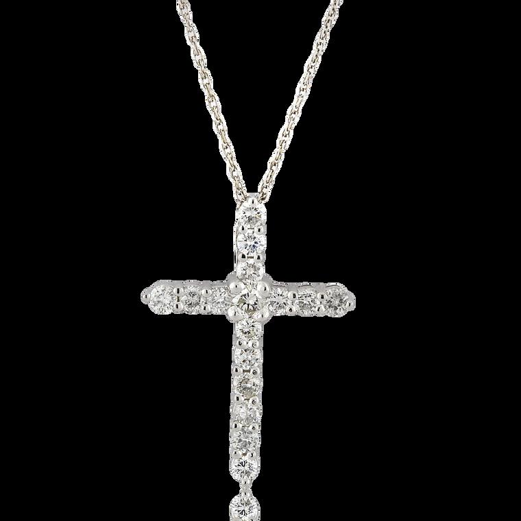 14K White Gold 1.08 ctw Diamond Cross Pendant 51002041 | Shin Brothers*