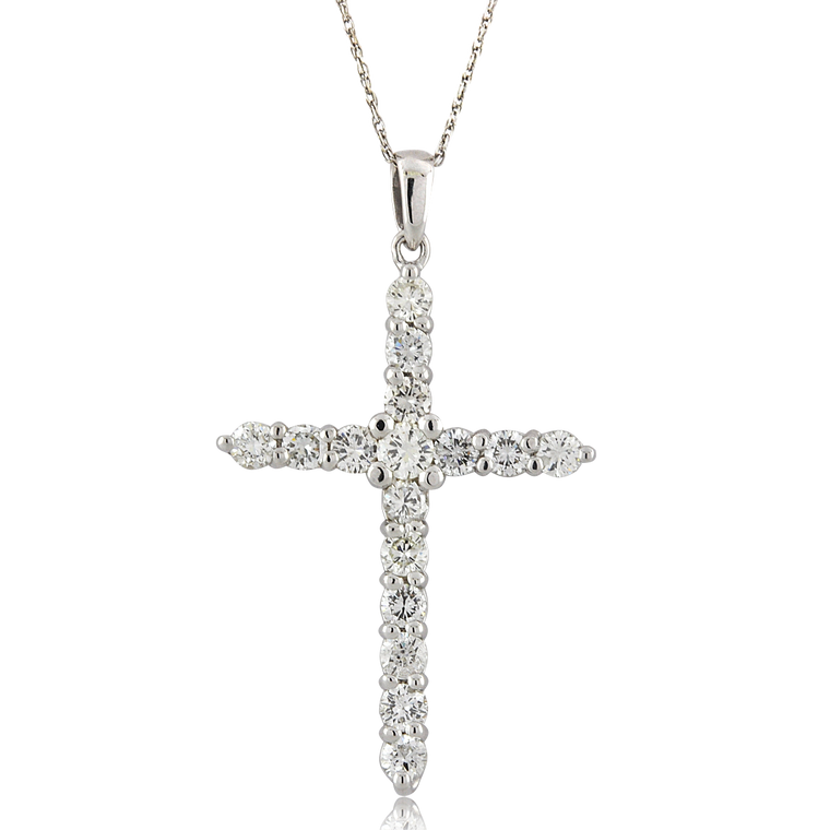 14K White Gold 2.36 ctw Diamond Cross Pendant 51002039 | Shin Brothers*