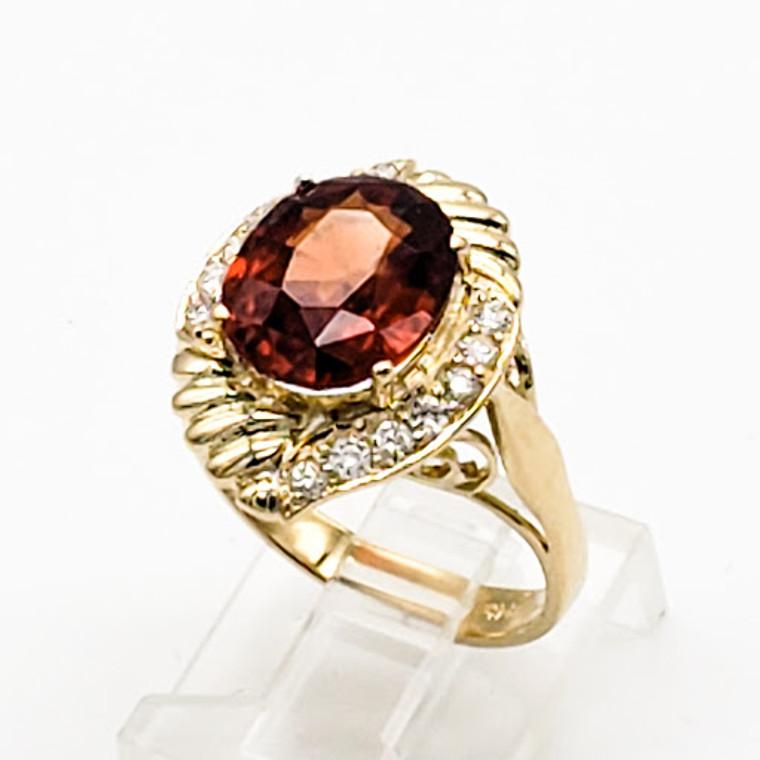 14K Yellow Gold Spessartine Garnet Diamond Ring 12002816 | Shin Brothers*