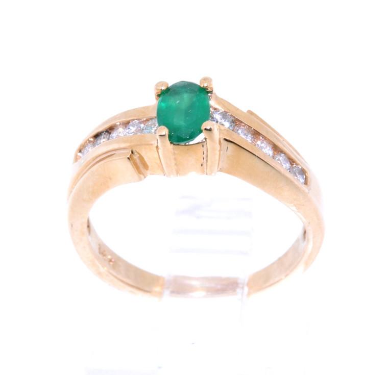14K Yellow Gold Oval Emerald Diamond Ring 12001533 | Shin Brothers*
