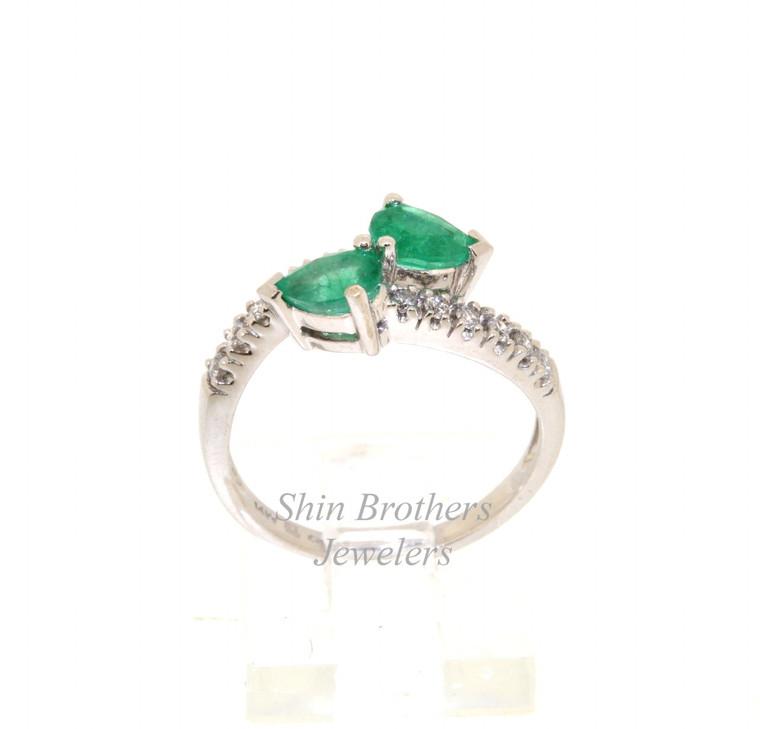 14K White Gold Emerald Diamond Bypass Ring 12002429 | Shin Brothers*