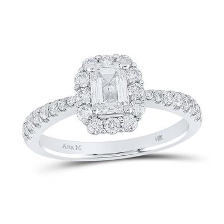 14K White Gold Emerald Diamond Halo Bridal Engagement Ring 1.25 CTTW 11006593 | Shin Brothers*