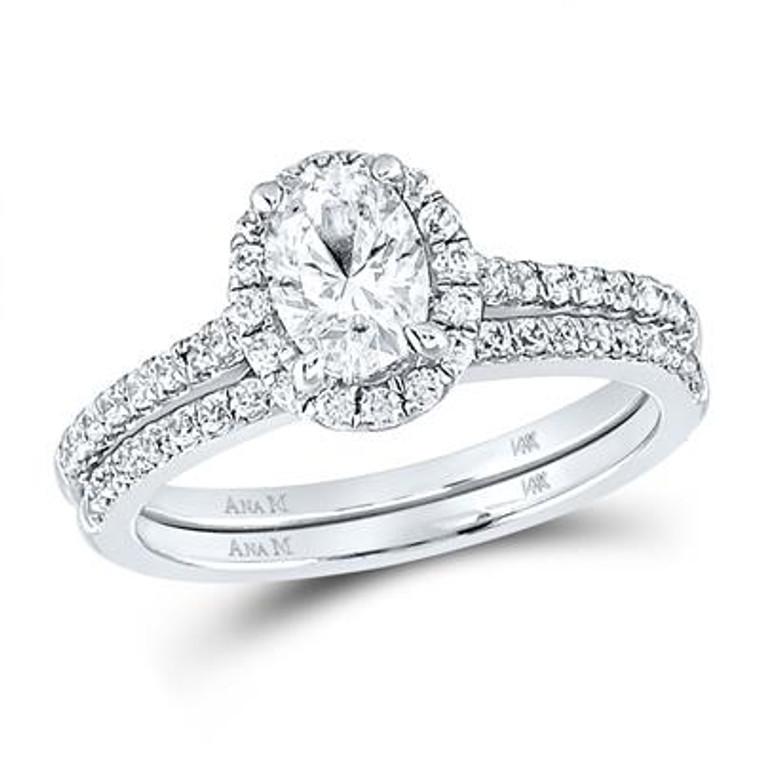 14K White Gold 1.33 tcw Oval Diamond Engagement Ring Set 11006589 | Shin Brothers*