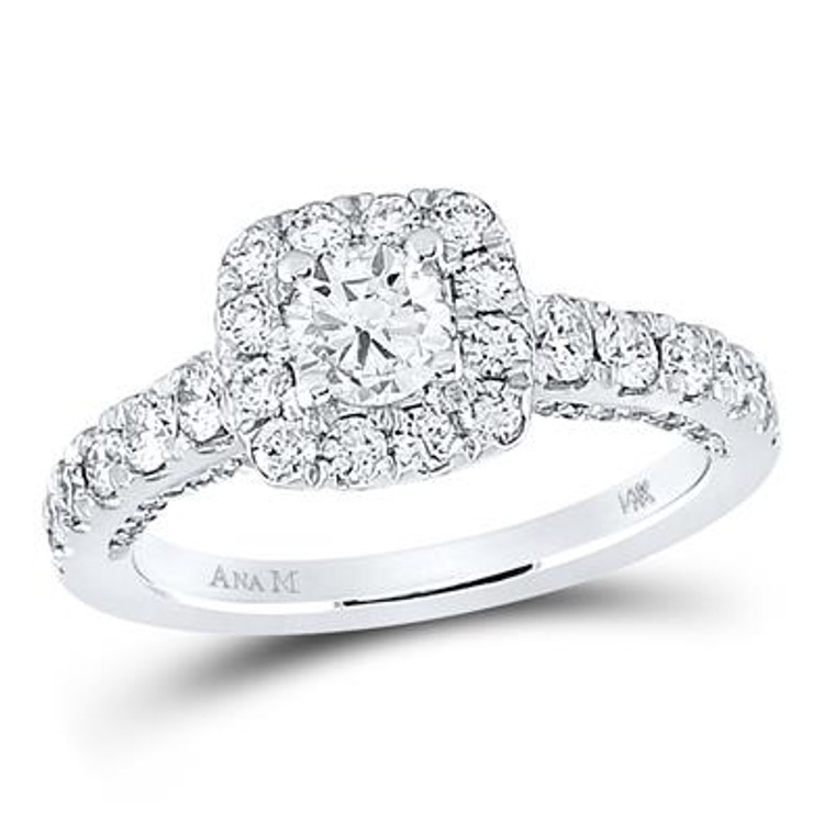 14K White Gold EGL Certified Round Diamond Halo Bridal Engagement Ring 1.50 CTTW 11006591 | Shin Brothers*