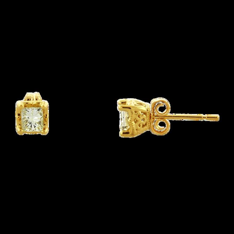 14K Yellow Gold 0.80-carat Princess Cut Diamond Stud Earrings 41002483 | Shin Brothers*