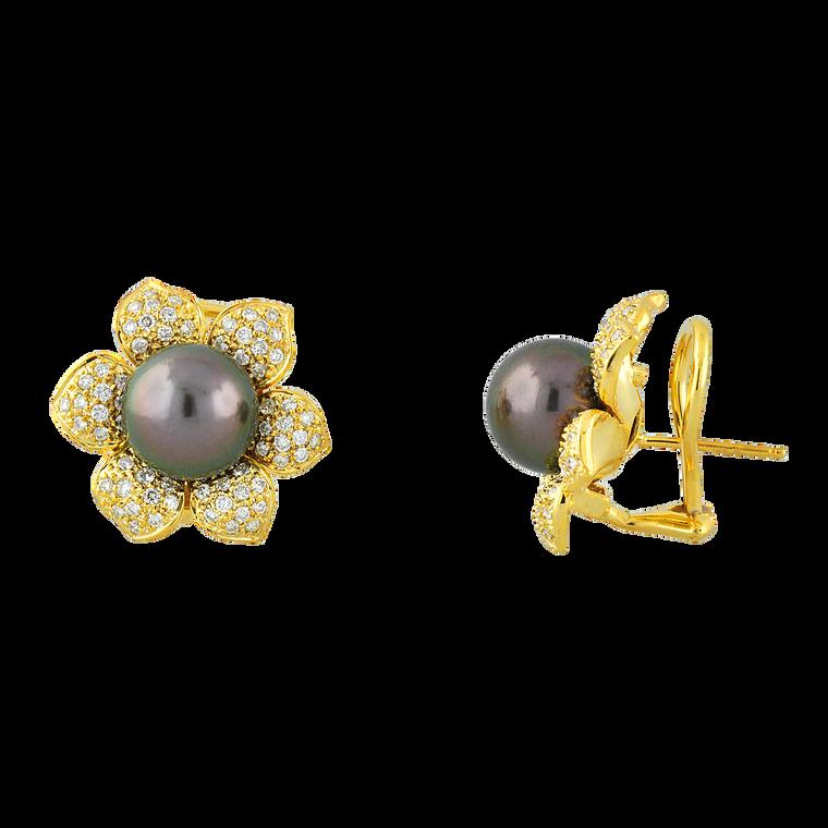 18K Yellow Gold Black Pearl Earrings w/ Diamonds 52002160 | Shin Brothers