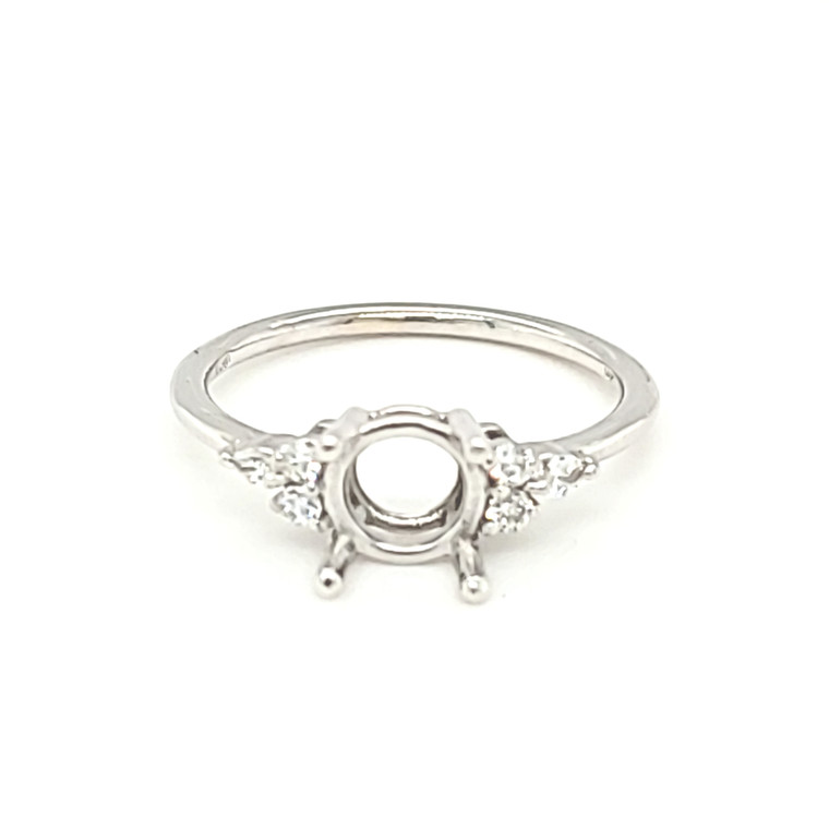 14K White Gold Round Engagement Ring Setting with Diamond Accents 11006586 | Shin Brothers*