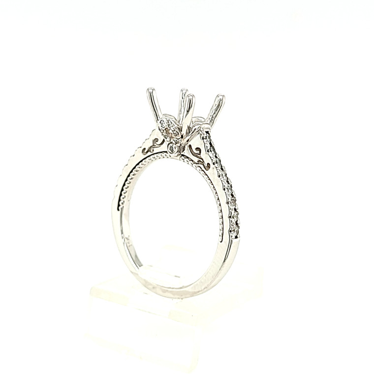14K White Gold Engagement Ring Setting with 1/3 ctw Side Diamonds 11006587 | Shin Brothers*