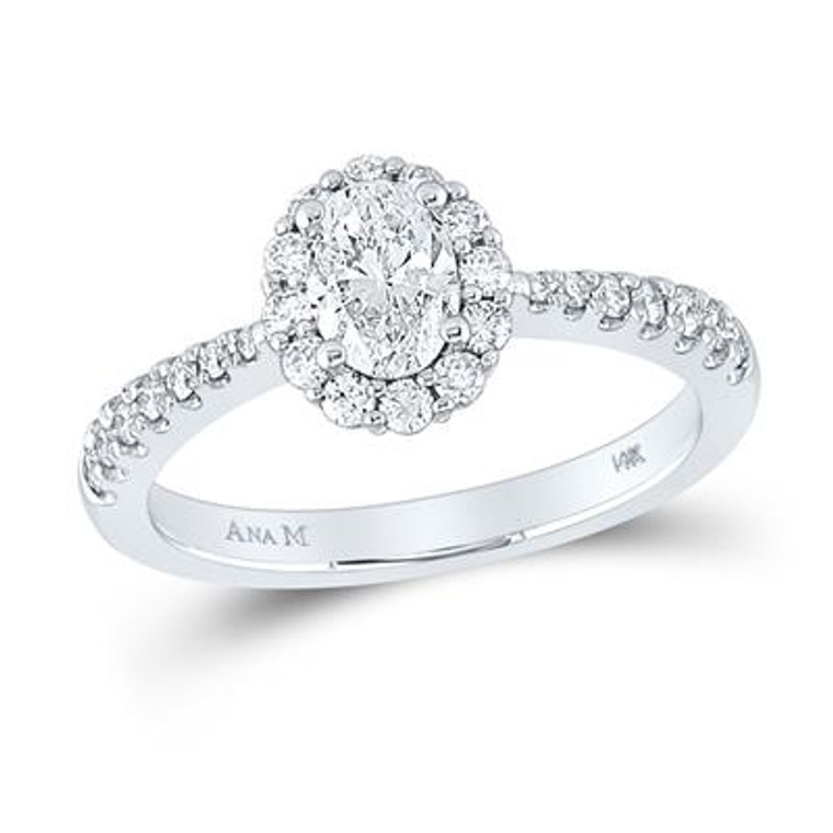 14K White Gold Oval Diamond Halo Bridal Engagement Ring 1.00 CTTW 11006592 | Shin Brothers*