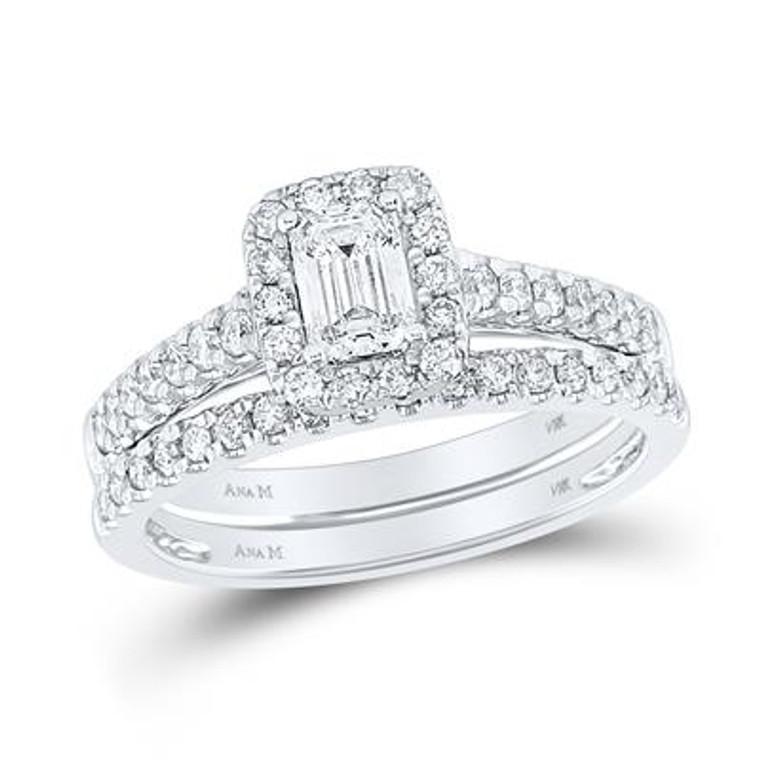 14K White Gold Emerald Diamond Halo Bridal Engagement Ring Set  11006590 | Shin Brothers*