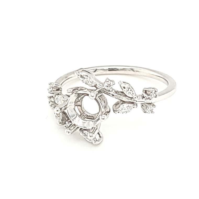 14K White Gold Six Prong Leaf Bypass Ring Setting 11006597 | Shin Brothers*