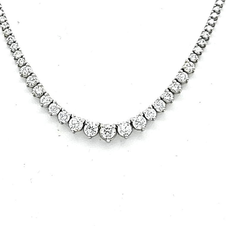 Diamond Tennis Necklace with 14K White Gold Border 31000836 | Shin Brothers*