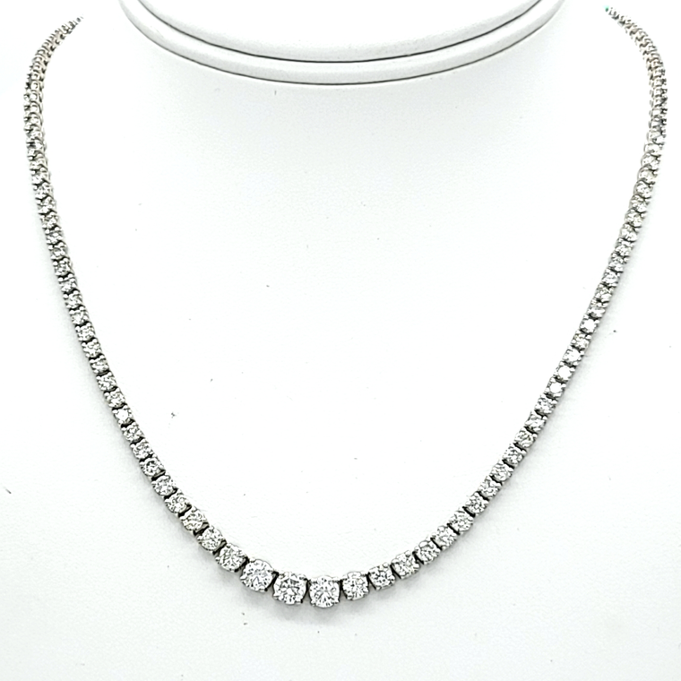14K White Gold 10.10 Carat Graduated Diamond Tennis Necklace 12389 | Shin Brothers*